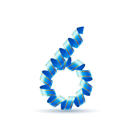arabic numeral: Number six made of blue curled shiny ribbon Illustration