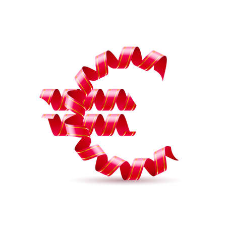 valuta: Symbol of euro is made of red curly ribbons.