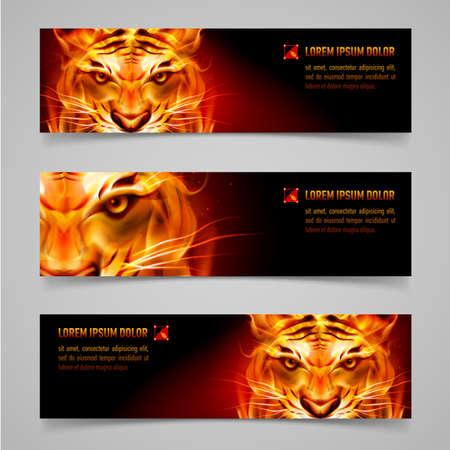 silueta tigre: Fije la bandera. Mensaje tigre Fuego. Fondo negro