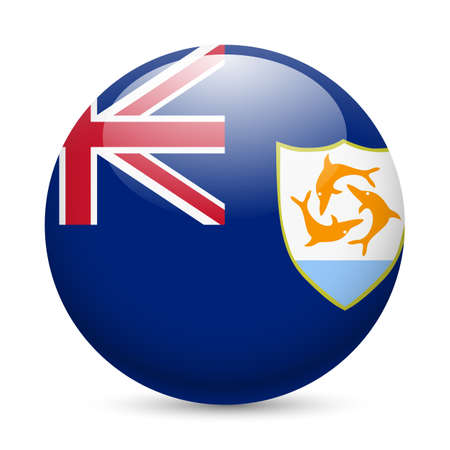 territories: A round badge in the colours of Anguilla flag.
