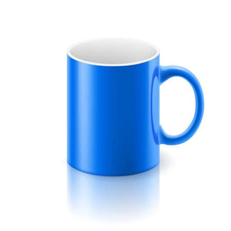 satined: Blue glossy  mug on the white background. Illustration