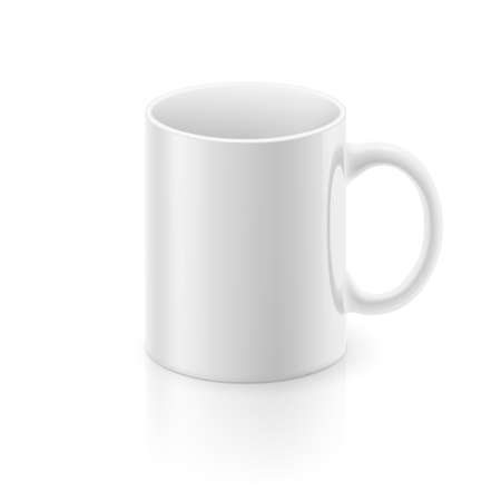 light reflex: White glossy  mug on the white background.