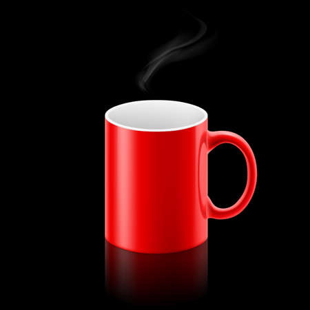 whiff: Red office mug with a small stream of smoke above it on black background.