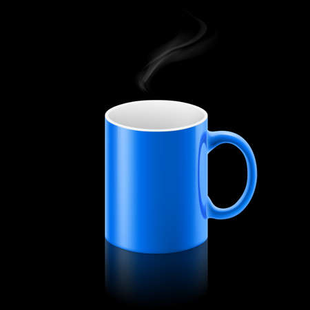 small office: Blue office mug with a small stream of smoke above it on black background.