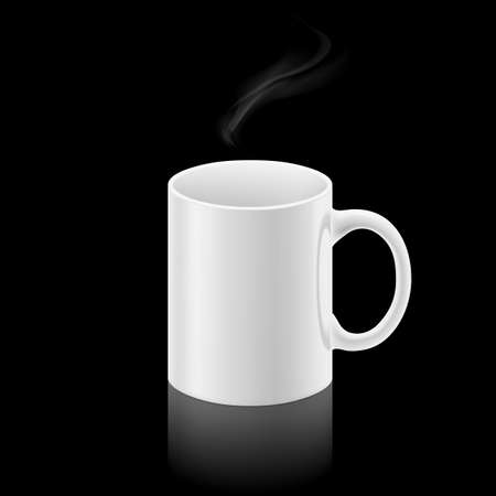 whiff: White office mug with a small stream of smoke above it on black background.