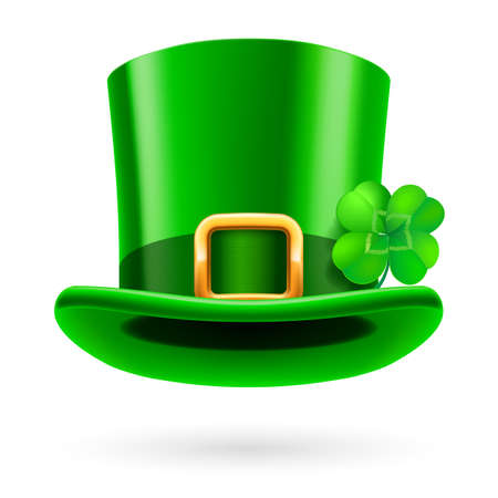 tall hat: Green tall hat in St. Patrick Day on a white background