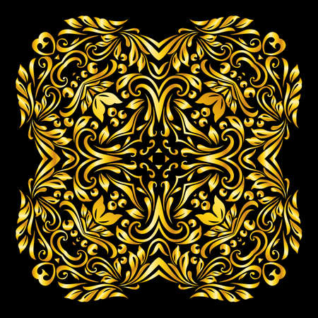 Vector gold element similar a flowers on black background Illustration