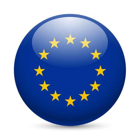 Flag of European Union as round glossy icon. Button with EU flag Иллюстрация
