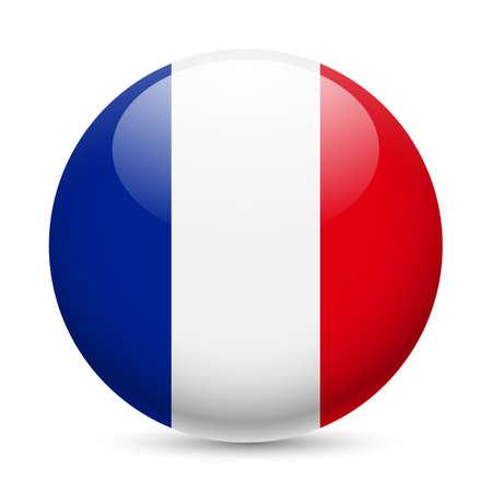 丸い光沢のあるアイコンとしてフランスの旗。フランスの国旗のボタン  イラスト・ベクター素材
