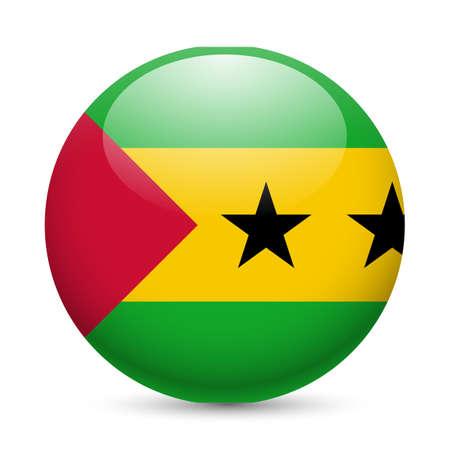 principe: Bandera de Santo Tomé y Príncipe como redonda icono brillante. Botón con diseño de la bandera Vectores