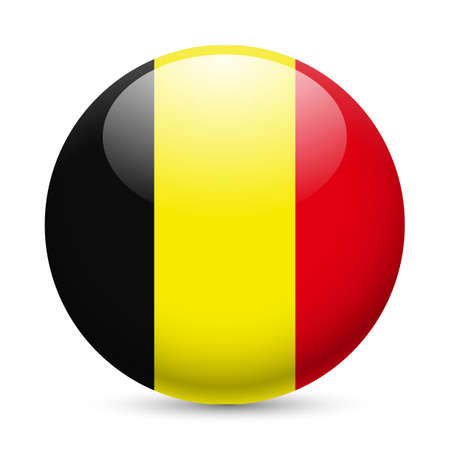 Flag of Belgium as round glossy icon. Button with Belgian flag Vector