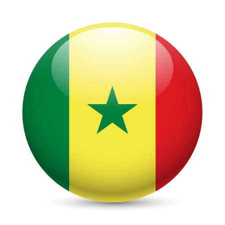 Flag of Senegal as round glossy icon. Button with Senegalese flag Vector