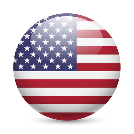 round icons: Flag of USA as round glossy icon. Button with American flag