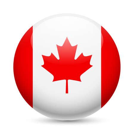 丸い光沢のあるアイコンとしてカナダの旗。カナダ国旗のボタン