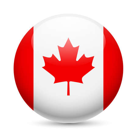 canada flag: Flag of Canada as round glossy icon. Button with Canadian flag