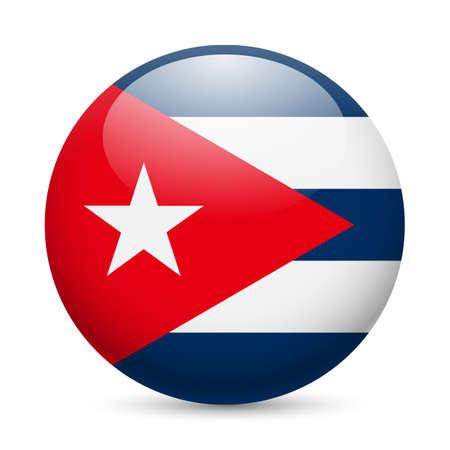 cubana: Bandera de Cuba como redonda icono brillante. Bot�n con la bandera cubana Vectores