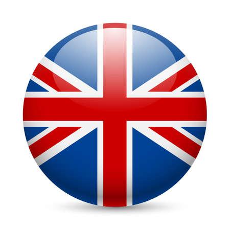 bandera reino unido: Bandera de Gran Breta�a como ronda icono brillante. Bot�n con la bandera brit�nica Vectores
