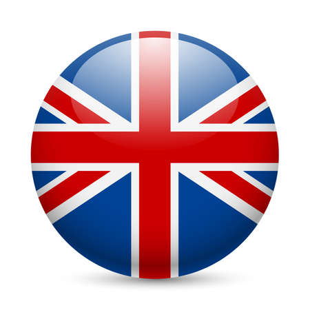 round icons: Flag of Great Britain as round glossy icon. Button with British flag
