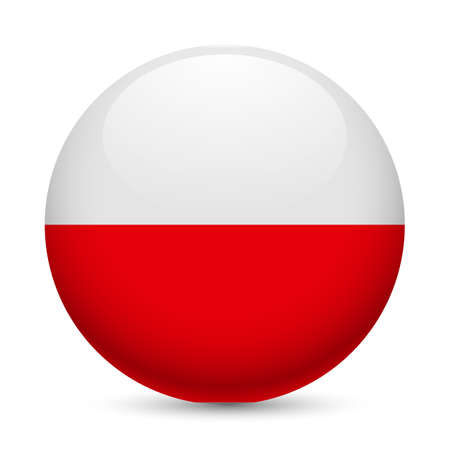Flag of Poland as round glossy icon. Button with Polish flag Illustration