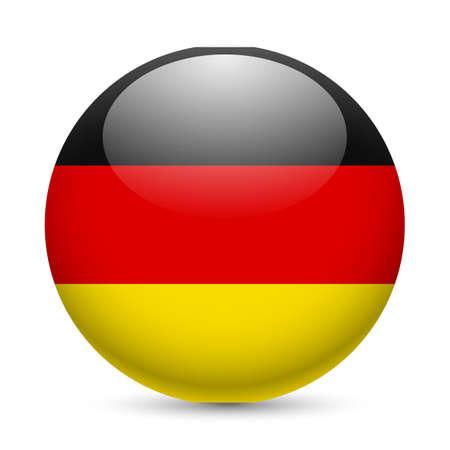 ラウンドの光沢のあるアイコンとしてドイツの旗。ドイツの旗を持つボタン
