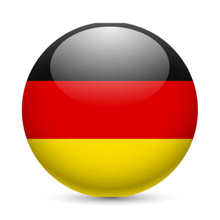 Flag of Germany as round glossy icon. Button with German flag Vector