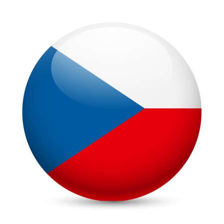 czech flag: Bandiera della Repubblica Ceca, come tutto l'icona lucido. Pulsante con bandiera ceca