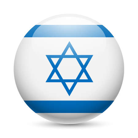 Flag of Israel as round glossy icon. Button with Israeli flag Vector
