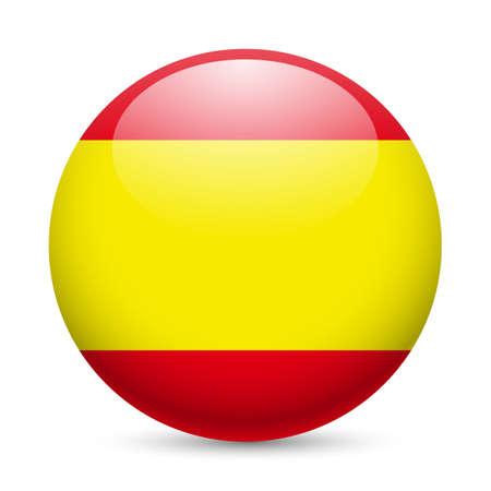 circulaire: Drapeau de l'Espagne comme ic�ne ronde brillant. Bouton avec le drapeau espagnol Illustration