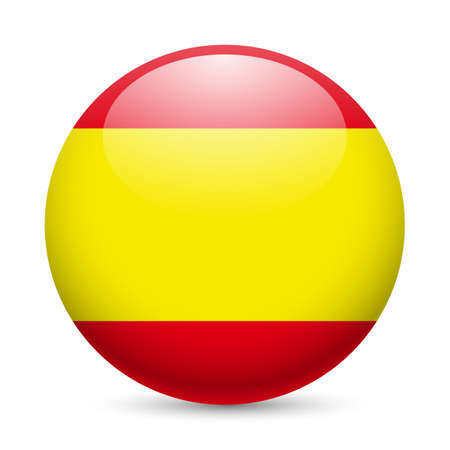 button icons: Flag of Spain as round glossy icon. Button with Spanish flag Illustration