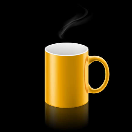 whiff: Yellow office mug with a small stream of smoke above it on black background.
