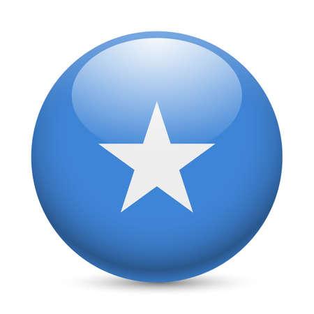 Flag of Somalia as round glossy icon. Button with Somalian flag Vetores