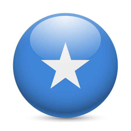 Flag of Somalia as round glossy icon. Button with Somalian flag