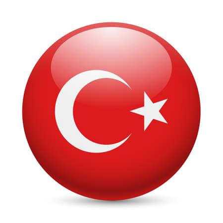 丸い光沢のあるアイコンとしてトルコの旗。トルコ国旗のボタン