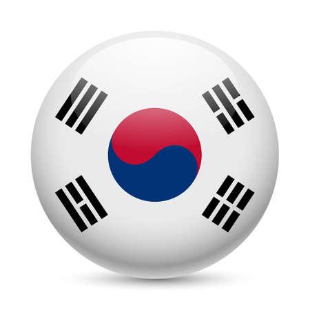 Bandera de Corea del Sur como ronda icono brillante. Botón con la bandera de Corea del Sur Vectores