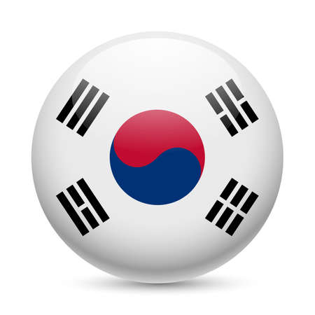 south asian: Flag of South Korea as round glossy icon. Button with South Korean flag