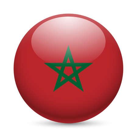 광택 아이콘 라운드로 모로코의 국기입니다. 모로코 플래그 단추 스톡 콘텐츠 - 29186355