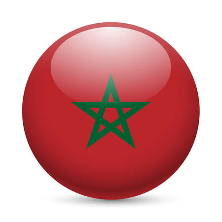Flag of Morocco as round glossy icon. Button with Moroccan flag Иллюстрация