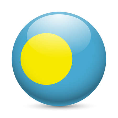 palau: Flag of Palau as round glossy icon. Button with Palauan flag