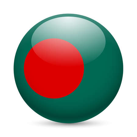 Flag of Bangladesh as round glossy icon. Button with Bangladeshi flag