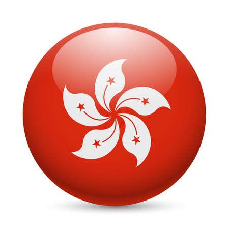 icon glossy: Bandiera di Hong Kong come rotondo icona lucido. Pulsante con bandiera disegno