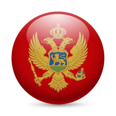 montenegro: Flag of Montenegro as round glossy icon. Button with Montenegrin flag