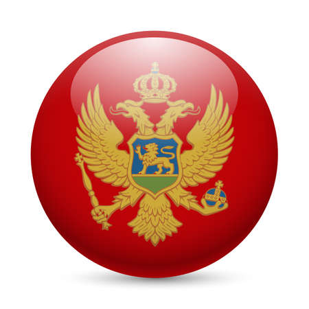Flag of Montenegro as round glossy icon. Button with Montenegrin flag