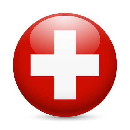 ラウンドの光沢のあるアイコンとしてスイス連邦共和国の旗。スイスの旗を持つボタン