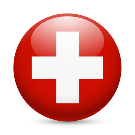 swiss flag: Flag of Switzerland as round glossy icon. Button with Swiss flag