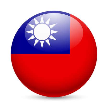 Bandiera di Taiwan come rotondo icona lucido. Pulsante con bandiera disegno Archivio Fotografico - 29186361