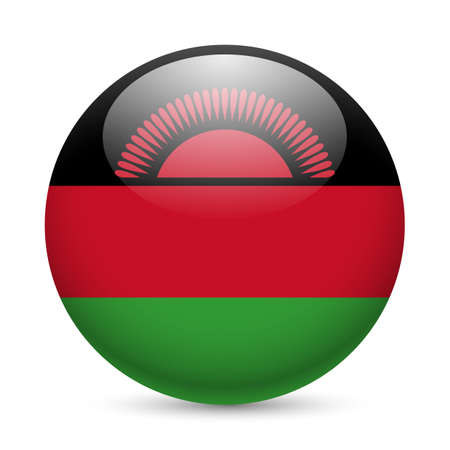 malawi: Flag of Malawi as round glossy icon. Button with Malawian  flag Illustration