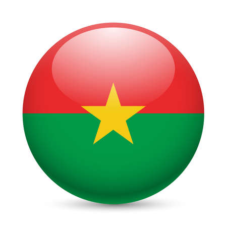 Flag of Burkina Faso as round glossy icon. Button with flag design Vector