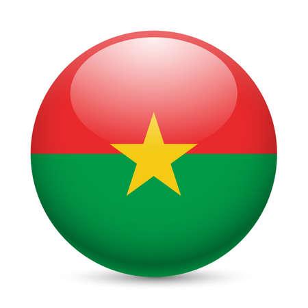 Flag of Burkina Faso as round glossy icon. Button with flag design