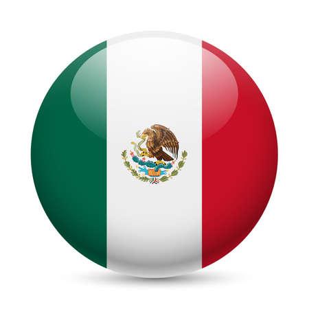 bandera mexicana: Bandera de México como redonda icono brillante. Botón con la bandera mexicana