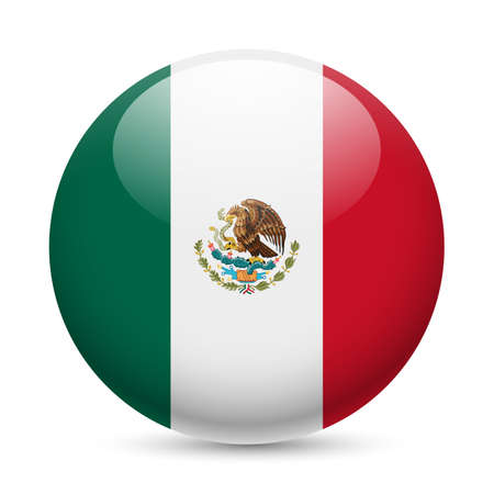 button icons: Flag of Mexico as round glossy icon. Button with Mexican flag Illustration